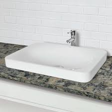 Bathroom Sink Not Draining by Decolav 1437 Cwh Semi Recessed Rectangular Vitreous China