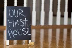Download Our First House Sign With Keys Stock Image