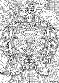 Zendoodle Design Of Sea Turtle Lying On Floral Background For Adult Coloring Book Anti Stress