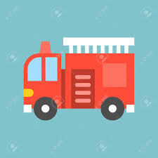 100 Fire Truck Cartoon With Ladder Simple Transportation Icon Flat Design