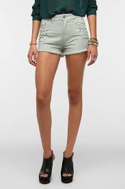 urban outfitters bdg high rise studded cheeky short in green lyst