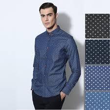 online get cheap blue and white polka dot shirt for men
