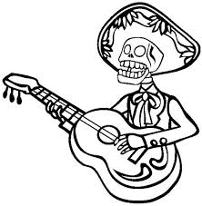 Mariachi Skeleton Playing Guitar Coloring Page