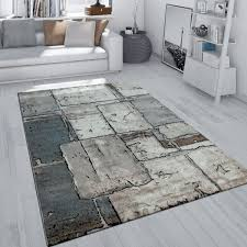 pile rug effect check pattern grey