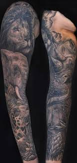 Brilliant African Animals Sleeve Tattoo