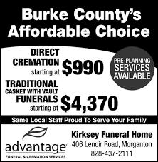 KIRKSEY FUNERAL HOME MORGANTON LOCAL Print Ads