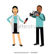 Female Reporter And Cameraman Operator Characters Filming News While Speaking With Microphone Journalist Doing