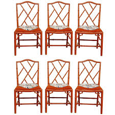 Set Of Six Faux Bamboo Chinese Chippendale Lacquered Chairs ... Bamboo Chippendale Chairs Small Set Of Eight Tall Back Black Faux Chinese Chinese Chippendale Florida Regency 57 Ding Table Vintage Six A Quick Living Room And Refresh Stripes Whimsy Side By Janneys Collection Chair Toronto For Sale Four