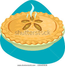 Hot apple pie with crusty rim and decorated top in ceramic pie pan Isolated on