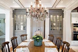 Built In Hutch Dining Room Traditional With Gray Painted Cabinets Black Ovens