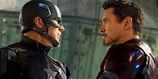 Chris Evans And Robert Downey Jr As Captain America Iron Man In