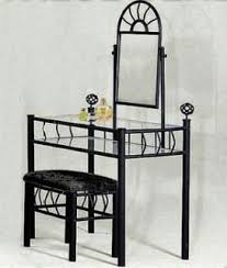 amazon com black metal bedroom vanity with glass table bench