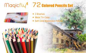 Magicfly 72 Colored Drawing Pencil Set Soft Core Art Watercolor For Artist Sketch Coloring Book Writing Manga Artwork