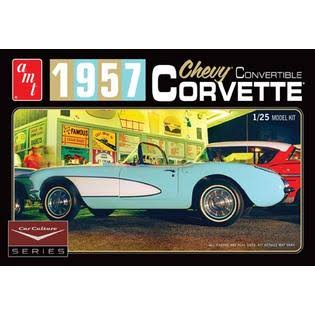 Amt 1015 1957 Chevy Corvette Convertible Plastic Car Model Kit - 1:25 Scale