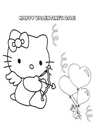 Hello Kitty Valentine Balloon Coloring Page