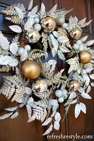 Silver And Gold Really Lighten Up This Dark Stained Door Just Add A Little Sparkling Wreath To Things Great Idea For Decorating