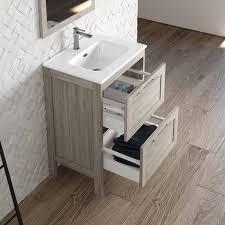 badezimmermöbel set landhaus mit hochschrank spiegel tarifa 110 kiefer grau b h t ca 115 200 45cm