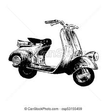 Vintage Motor Scooter Vector Illustration Hand Graphics