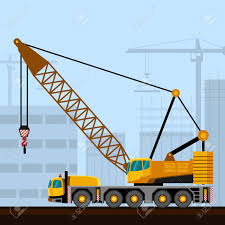 100 Truck Mounted Cranes Lattice Boom With Construction Background Side