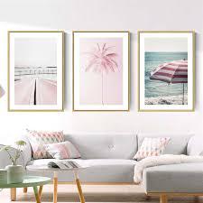 nordic wandbild rosa straßenbahn dekoration leinwand malerei