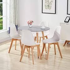 goldfan esstisch mit 4 stühlen rund esstisch aus holz matt küchentisch esszimmerstuhl aus holz küchenstuhl für wohnzimmer esszimmer küche grau weiß