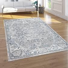 teppich wohnzimmer kurzflor 3d effekt orientalisches muster modern grau blau