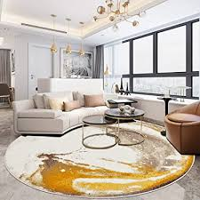 runde teppiche gelb dicke wohnzimmer große shaggy teppich