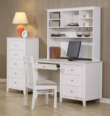 white painted pine wood computer desk with high back upholstered
