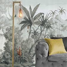 bemalt retro tropischen pflanzen tapete wandbild dschungel frorest bäume scenic grey wandbild wohnzimmer schlafzimmer wandbilder