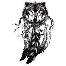 3D Wolf Head Black Tattoo Sticker Women Men Body Art Dre