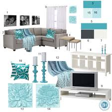 grey and turquoise living room collection with mood board gray