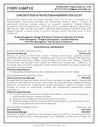 Simply Construction Manager Resume Keywords And Project Management Specialist Example