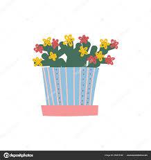 100 Blooming House Plant Growing In Flowerpot Design Element