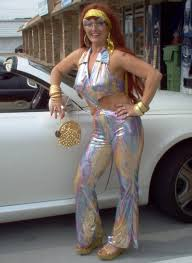 1970s Disco Diva Outfit Jumpsuits Glitter Platform Shoes Wigs Vintage Jewelry Complete Outfits