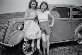 Pretty Girls Pose By A Car 50s