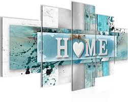 bilder home herz 5 teilig bild auf vlies leinwand deko wohnzimmer vintage blau grau 504552a