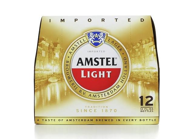 Amstel Light Lager Beer - 12 Bottles