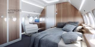 Luxury Bedroom Interior Sukhoi Business Jet Cabin 960—480