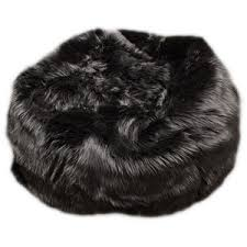 Fuzzy Fur Black Bean Bag Chair