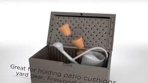 Suncast 195 Gallon Deck Box Manual by Suncast 80 Gallon Baywood Large Deck Box Youtube