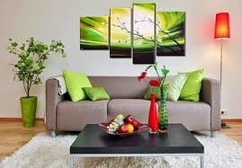 Living Room Wall Art Posters Paintings Green Pillow Fabric Painting 4 Pieces Red Standing Lamp Brown
