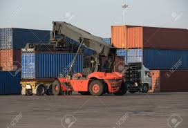 20ft Container Lift Up Load Truck In The Railway Container Shipping ...