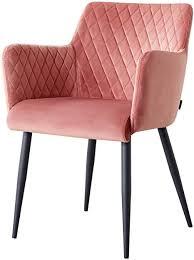 damiware stuhl design wohnzimmerstuhl esszimmerstuhle bürostuhl mit samt stoffbezug samt rosa