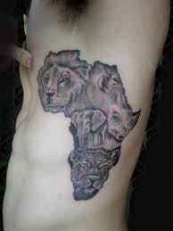 Grey Ink African Map And Animal Tattoo On Side Rib