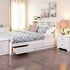 amazon com white queen mate s platform storage bed with 6 drawers