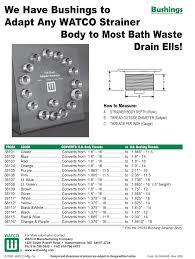 Bathtub Drain Strainer Body by Watco Strainer Body Tub Drain Adapter Bushings