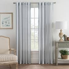 Bed Bath And Beyond Semi Sheer Curtains by Bayport Stripe Rod Pocket Back Tab Window Curtain Panel Bed Bath