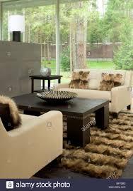 wohnzimmer mit zwei sofas auf einem fell teppich mit einem