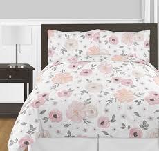 Watercolor Floral Pink and Grey Bedding Set Sweet Jojo Designs