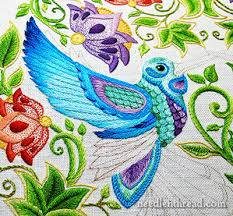 Secret Garden Embroidery Hummingbird Wing